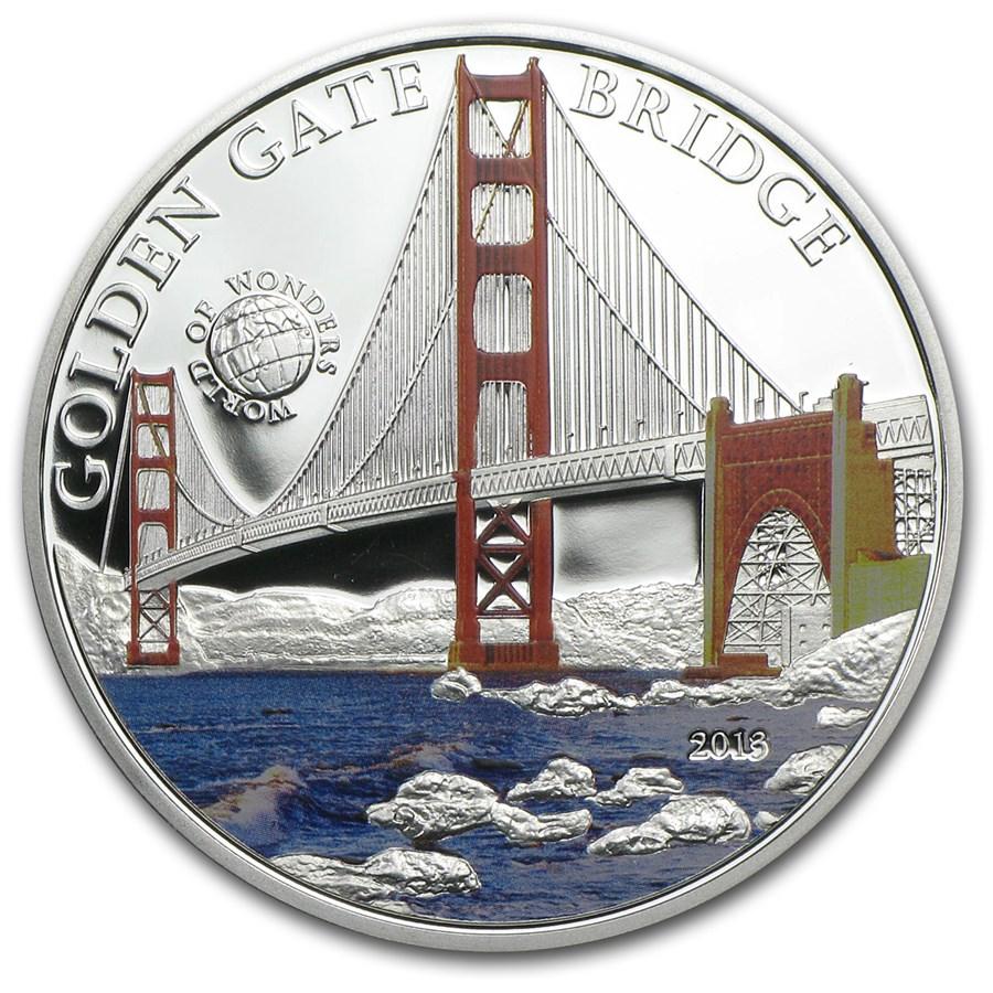 2013 Palau Proof Silver World of Wonders Golden Gate Bridge