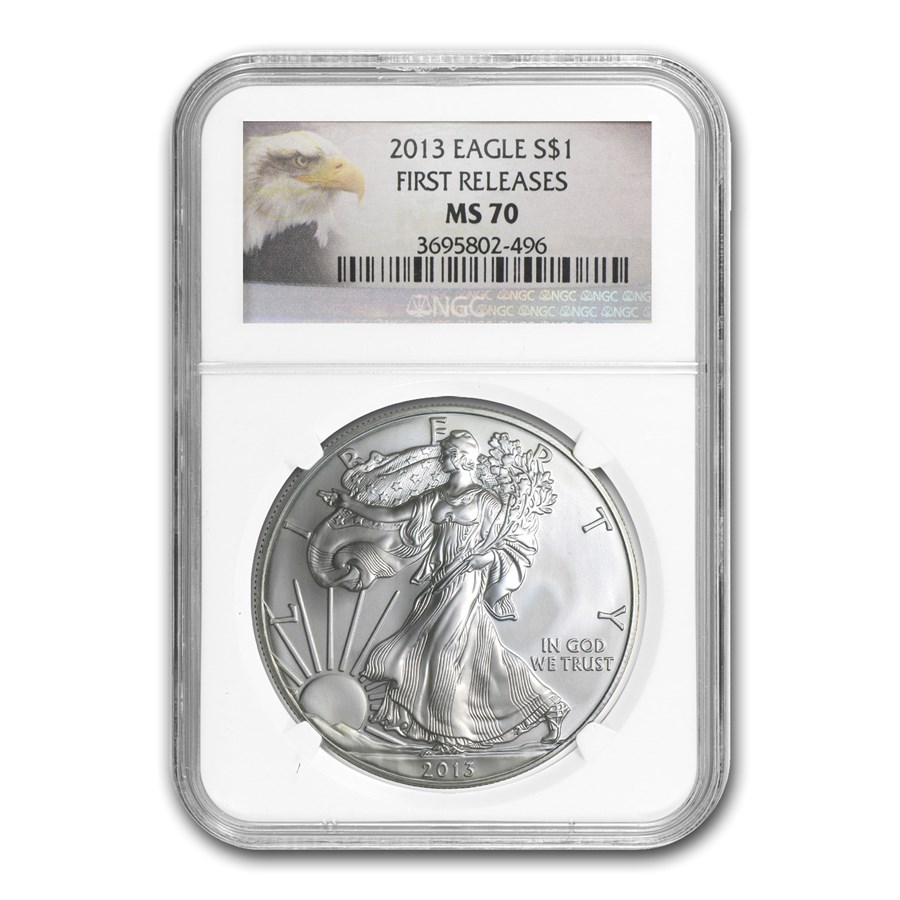 2013 Silver American Eagle MS-70 NGC (1st Releases, Eagle Label)