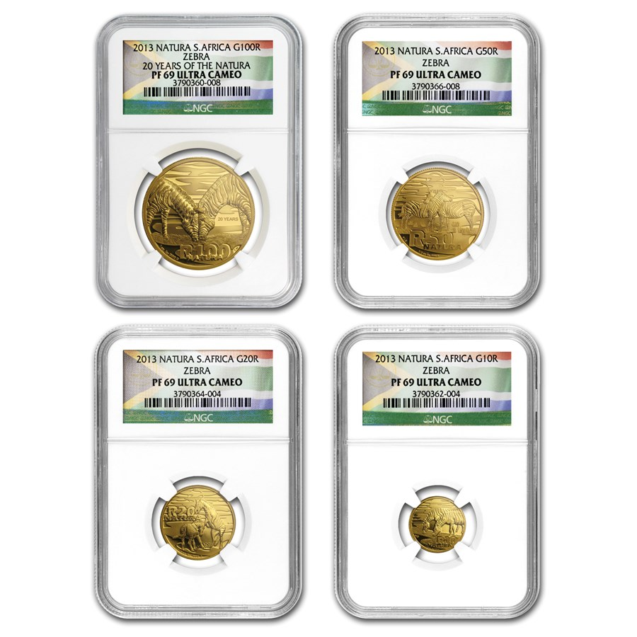 2013 South Africa 4-Coin Gold Natura Zebra Set PF-69 NGC
