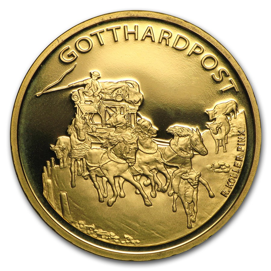 2013 Switzerland Proof Gold 50 CHF Gotthard Mail Coach