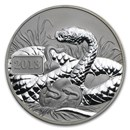 2013 Tokelau 1 oz Silver Reverse Proof Lunar Year of the Snake