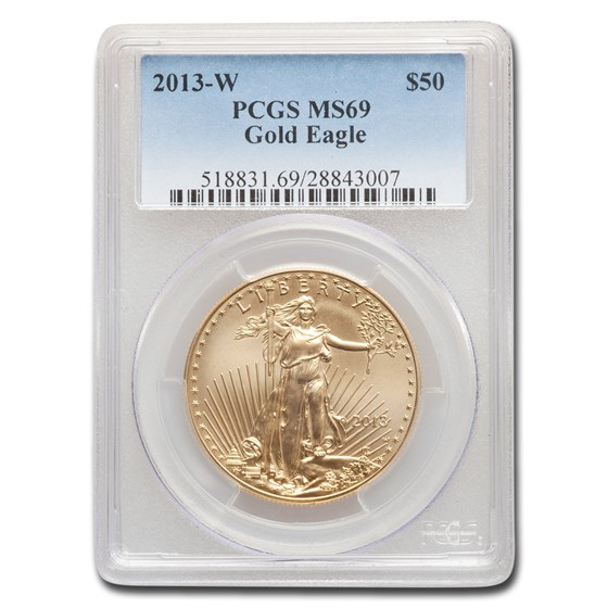 2013-W 1 oz Burnished Gold Eagle MS/SP-69 PCGS