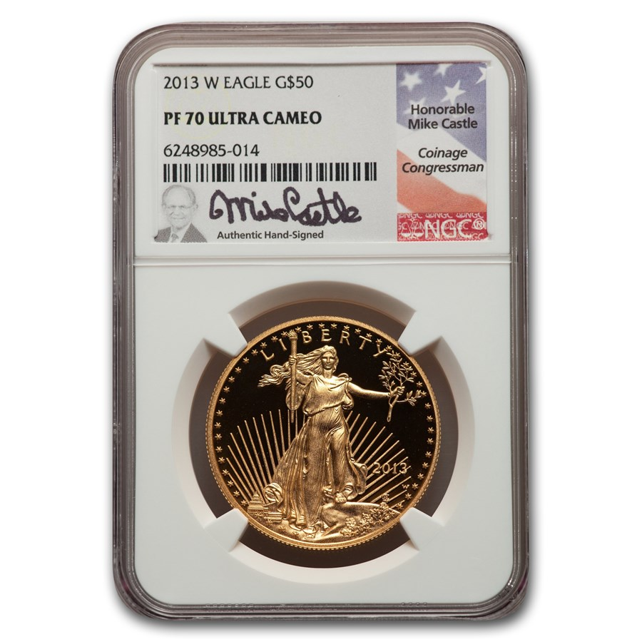 2013-W 1 oz Proof American Gold Eagle PF-70 NGC (Castle Label)