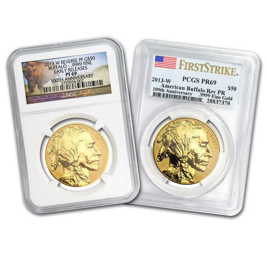 2013-W 1 oz Rev Proof Gold Buffalo Proof-69 PCGS/NGC (Random)