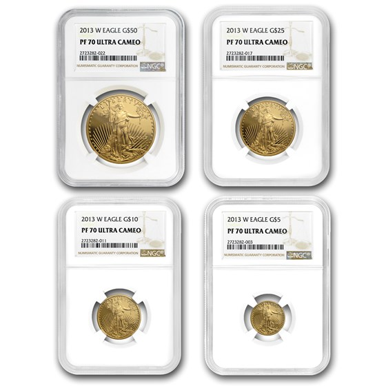2013-W 4-Coin Proof American Gold Eagle Set PF-70 NGC