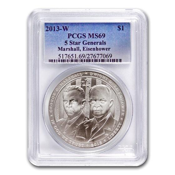 2013-W Five Star General $1 Silver Commem MS-69 PCGS