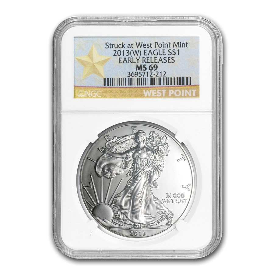 2013 (W) Silver Eagle MS-69 NGC (ER, West Point Star Label)
