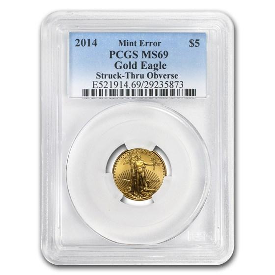 2014 1/10 oz Gold American Eagle MS-69 PCGS Minor Mint Error