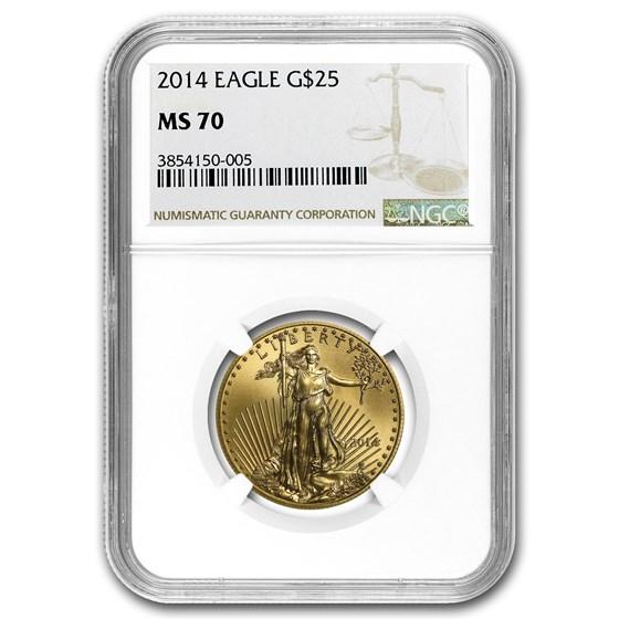 2014 1/2 oz American Gold Eagle MS-70 NGC