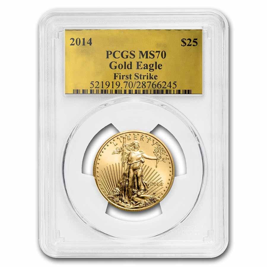 2014 1/2 oz American Gold Eagle MS-70 PCGS (FS, Gold Foil)