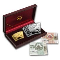 2014 1/3 oz Gold & 1 oz Silver Fan Year of the Horse (Box & COA)