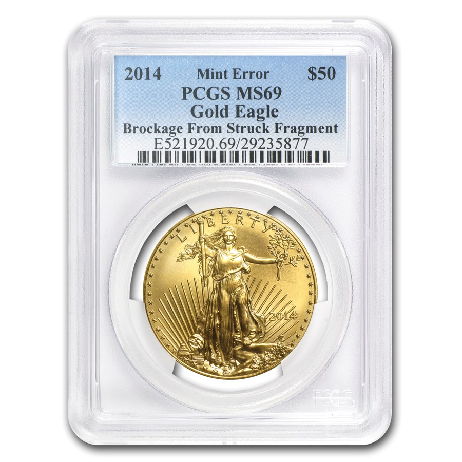"2014 1 oz American Gold Eagle ""Brockage"" Mint Error MS-69 PCGS"