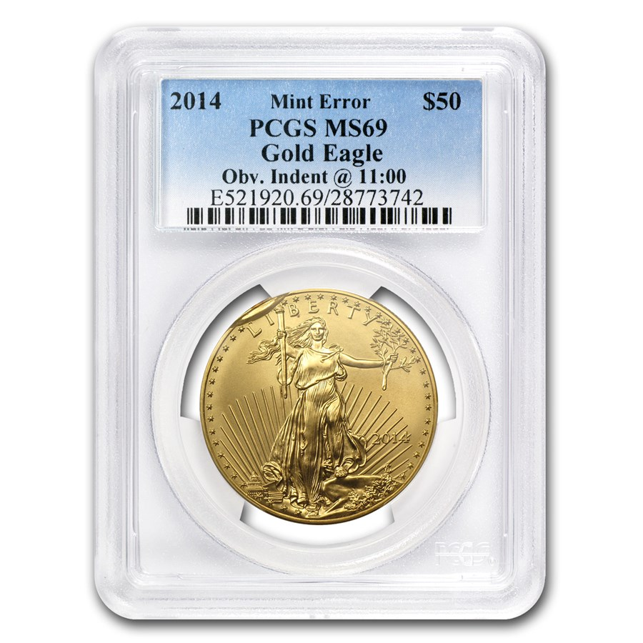 "2014 1 oz Gold American Eagle Mint Error PCGS MS-69 ""Obv. Indent"""