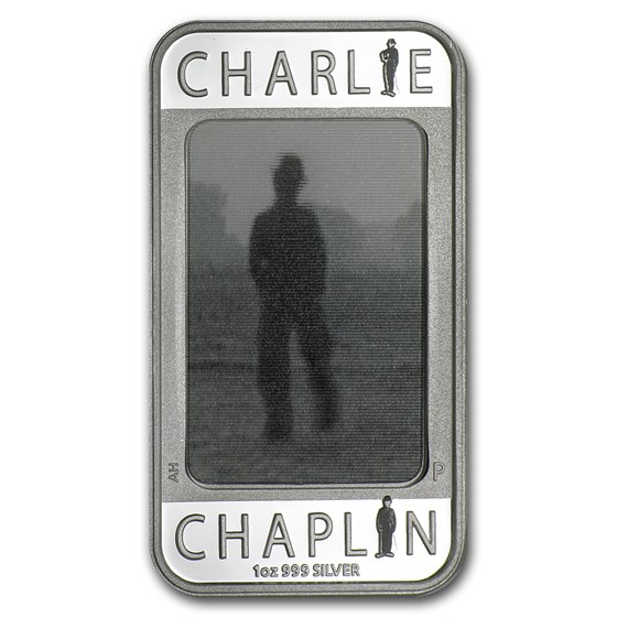 2014 1 oz Silver Charlie Chaplin 100 Years of Laughter Rect Coin