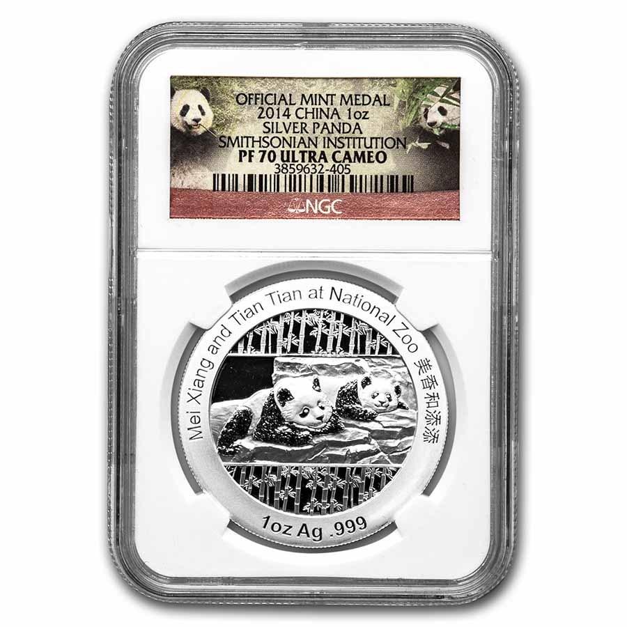 2014 1 oz Silver Panda Smithsonian PF-70 NGC (Box & CoA)