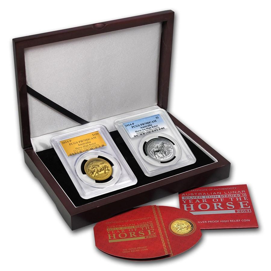 2014 2-Pc 1 oz Gold & Silver High Relief Horse Prf Set PR-70 PCGS