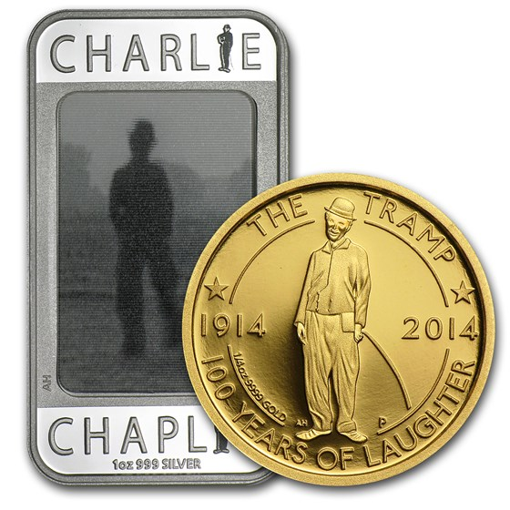 2014 2-Pc Gold & Silver Charlie Chaplin 100 Years of Laughter Set