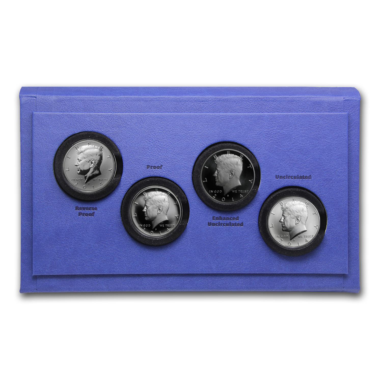50th Anniversary Kennedy Half-Dollar Silver 4 Coin Collection W//COA