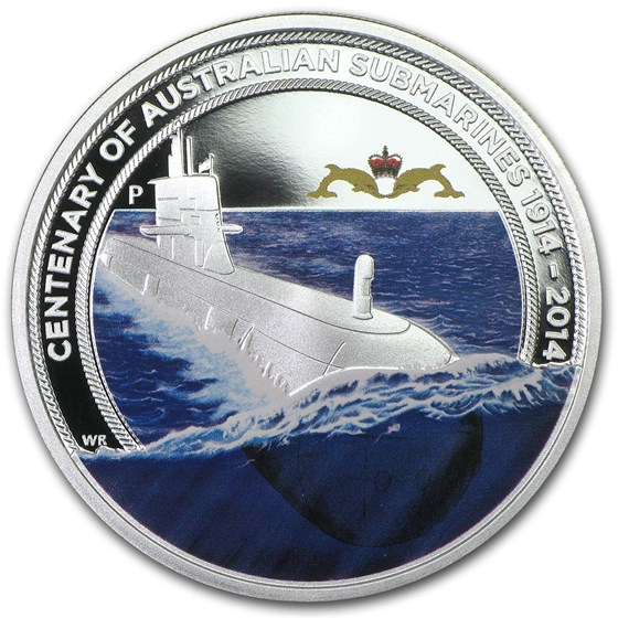 2014 AUS 1 oz Silver Centenary of Australian Submarine Service Pf