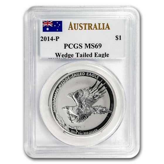 2014 AUS 1 oz Silver Wedge Tailed Eagle MS-69 PCGS (Mercanti)