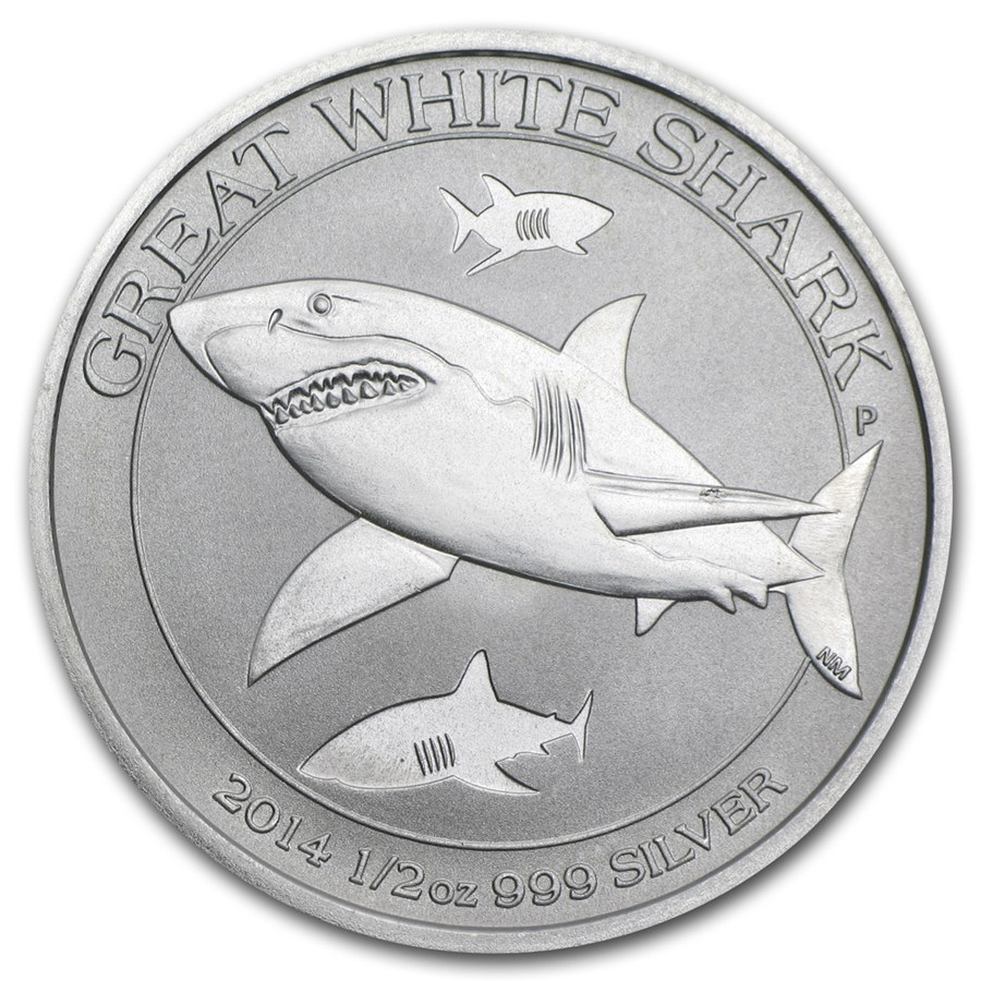 2014 Australia 1/2 oz Silver Great White Shark BU