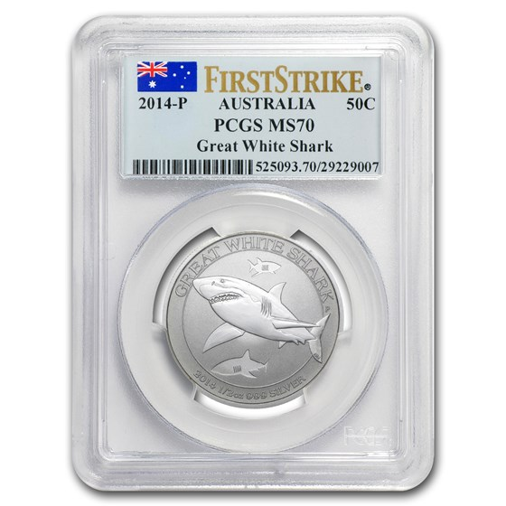 2014 Australia 1/2 oz Silver Great White Shark MS-70 PCGS (FS)