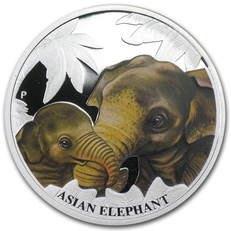 2014 Australia 1/2 oz Silver Mother's Love Proof (Asian Elephant)