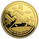 2014 Australia 1 oz Gold Lunar Horse Prf (SII, w/Box and COA)