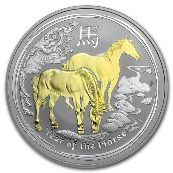 2014 Australia 1 oz Silver Lunar Horse BU (Gilded)