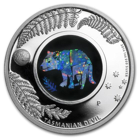 2014 Australia 1 oz Silver Opal Tasmanian Devil Proof
