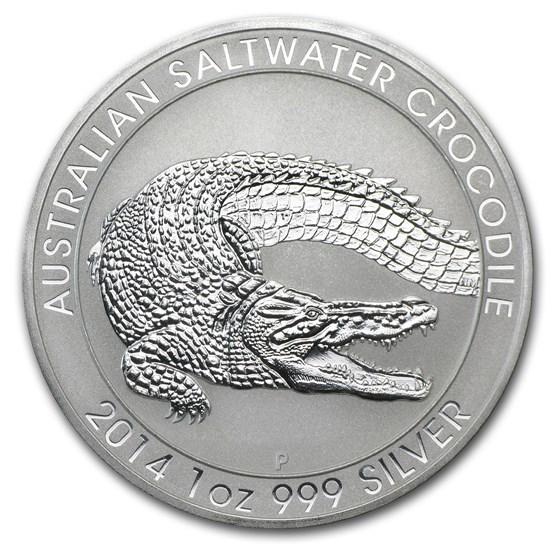 2014 Australia 1 oz Silver Saltwater Crocodile BU
