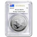 2014 Australia 1 oz Silver Wedge Tailed Eagle MS-70 PCGS