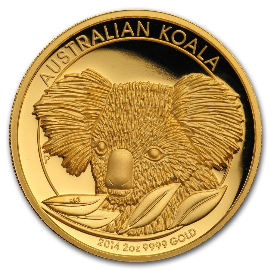2014 Australia 2 oz Proof Gold Koala (w/Box & COA)