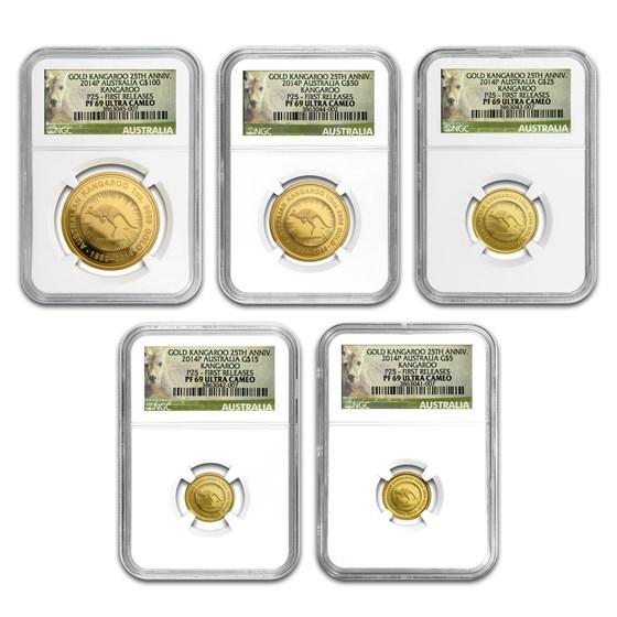 2014 Australia 5-Coin Gold Kangaroo Proof Set PF-69 NGC (FR)
