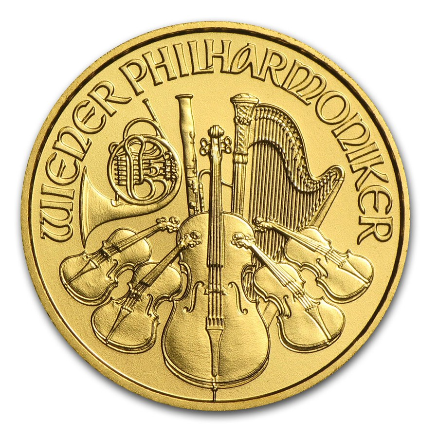2014 Austria 1/10 oz Gold Philharmonic BU