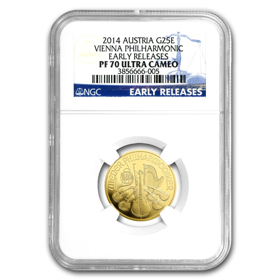 2014 Austria 1/4 oz Proof Gold Philharmonic PF-70 NGC (ER)