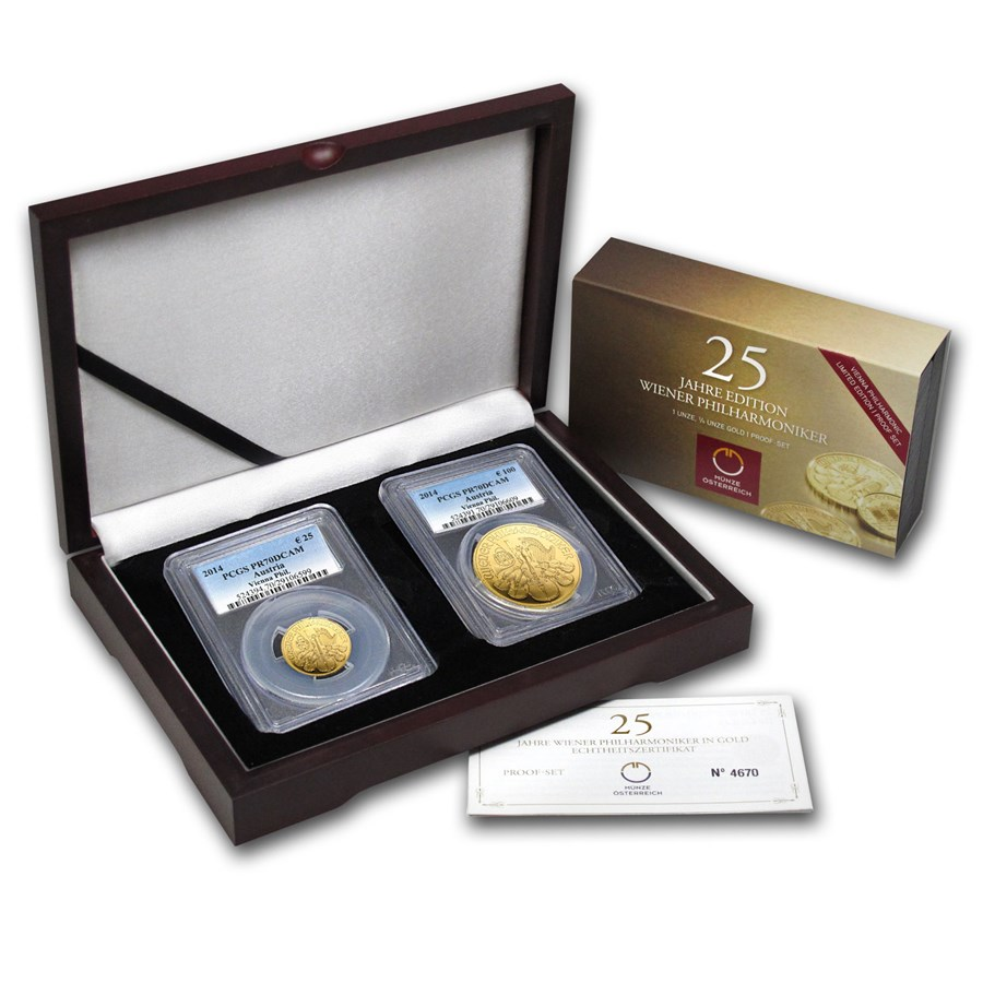 2014 Austria 2-Coin Gold Philharmonic Proof Set PR-70 PCGS