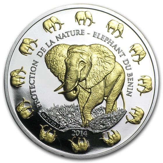 2014 Benin 1 oz Silver Protection de la Nature Elephant (Gilded)