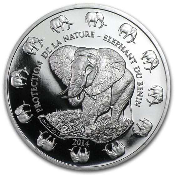 2014 Benin 1 oz Silver Protection de la Nature Elephant