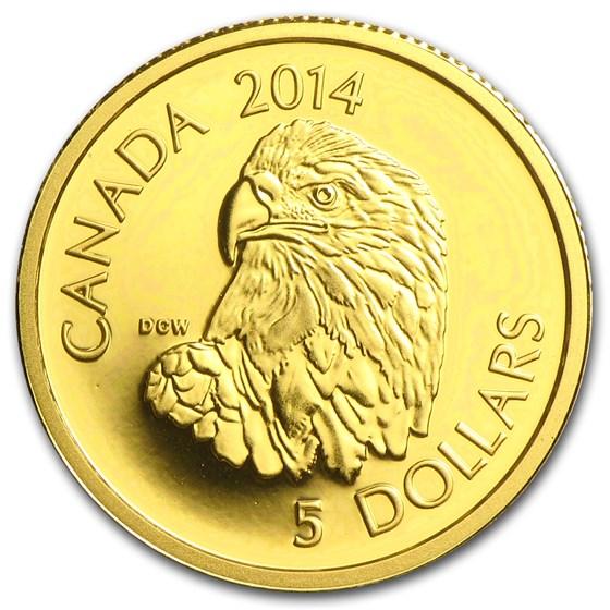 2014 Canada 1/10 oz Proof Gold $5 Bald Eagle