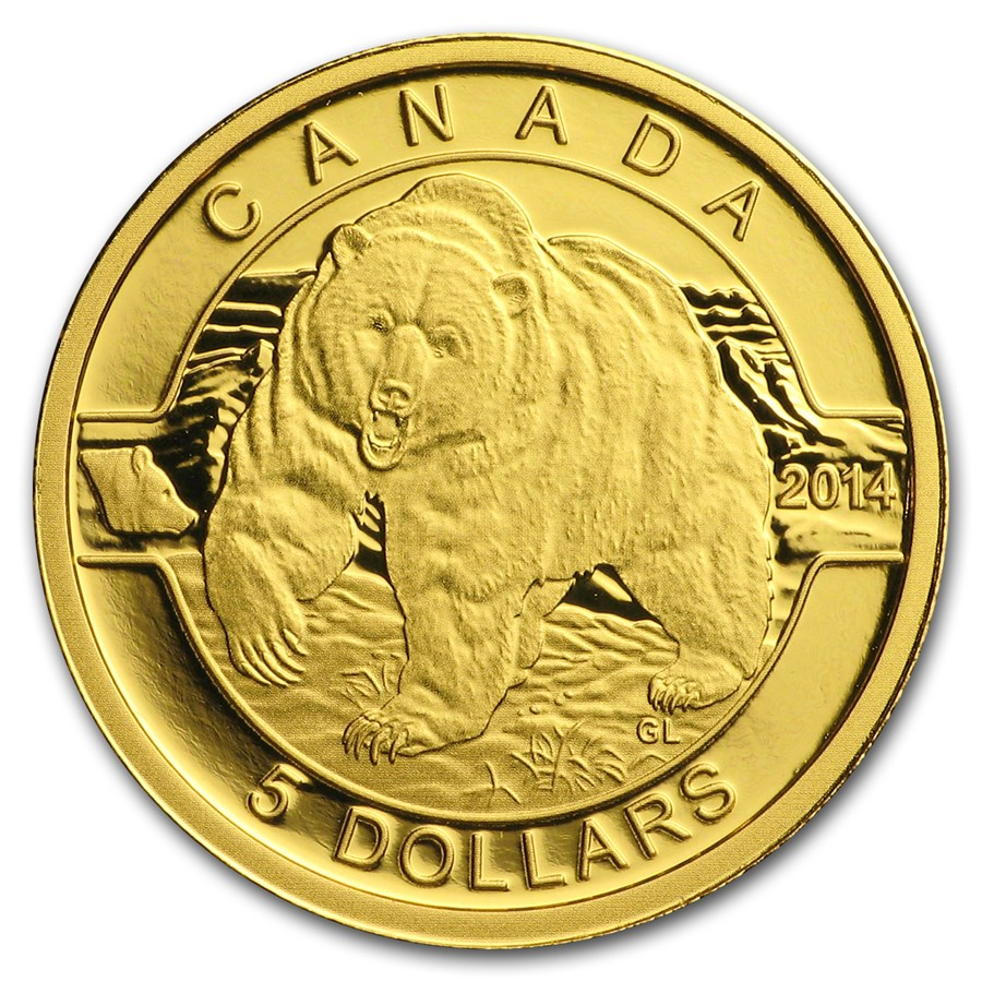 2014 Canada 1/10 oz Proof Gold $5 Grizzly Bear