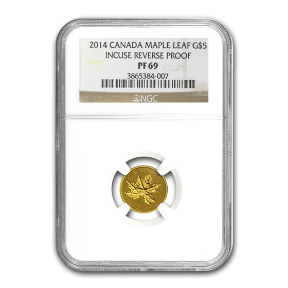 2014 Canada 1/10 oz Reverse Proof Gold Maple Leaf PF-69 NGC