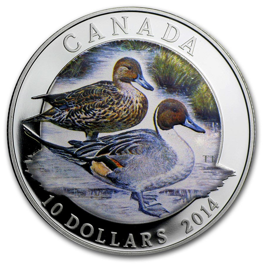 2014 Canada 1/2 oz Silver $10 Ducks of Canada Pintail