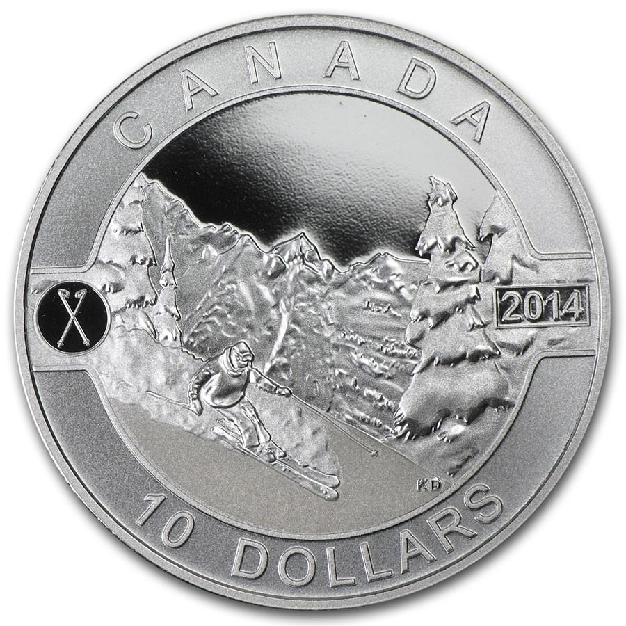 2014 Canada 1/2 oz Silver $10 Skiing Canada's Slopes