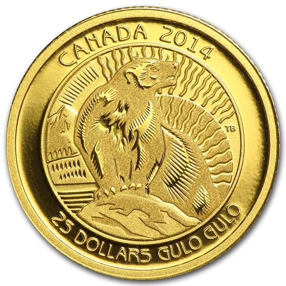 2014 Canada 1/4 oz Proof Gold $25 Untamed Canada Wolverine