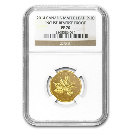 2014 Canada 1/4 oz Reverse Proof Gold Maple Leaf PF-70 NGC