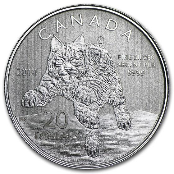 2014 Canada 1/4 oz Silver $20 Bobcat (w/COA)