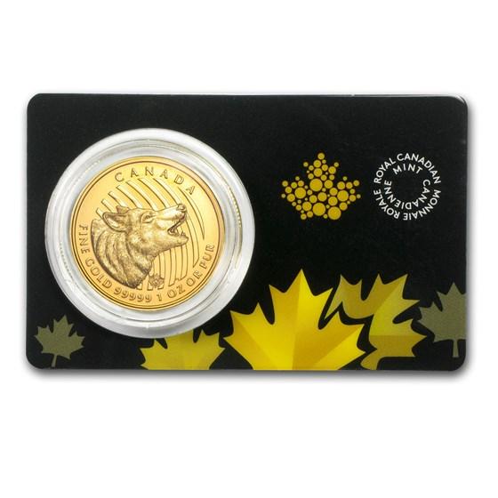 2014 Canada 1 oz Gold Howling Wolf .99999 BU (Assay Card)