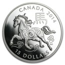 2014 Canada 1 oz Silver $15 Lunar Horse Proof (Coin Only)
