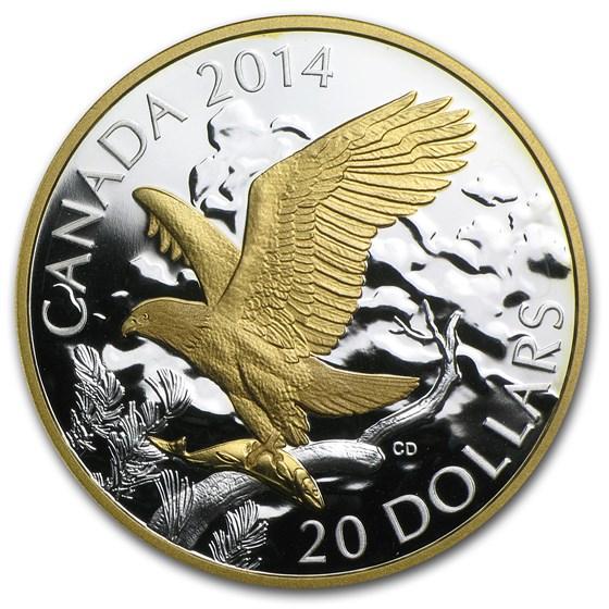 2014 Canada 1 oz Silver $20 Perched Bald Eagle